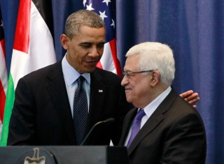 U.S. President Obama participates in joint news conference with Palestinian President Mahmoud Abbas at Muqata Presidential Compound in Ramallah
